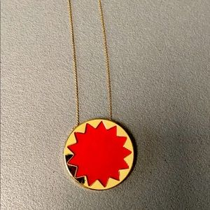 House of Harlow starburst necklace in red and gold